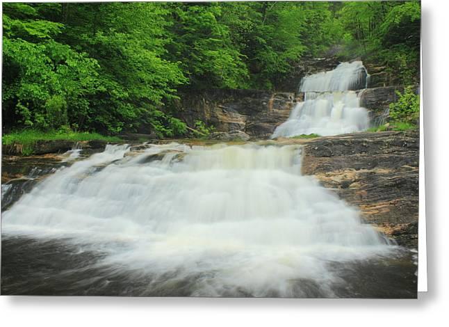 Kent Falls Greeting Cards - Kent Falls Waterfall Greeting Card by John Burk