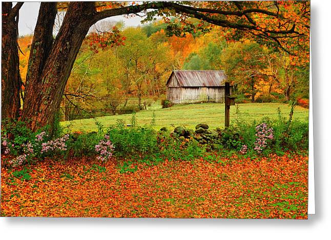 New England Autumn Greeting Cards - Kent Hollow-Connecticut autumn scenic Greeting Card by Thomas Schoeller