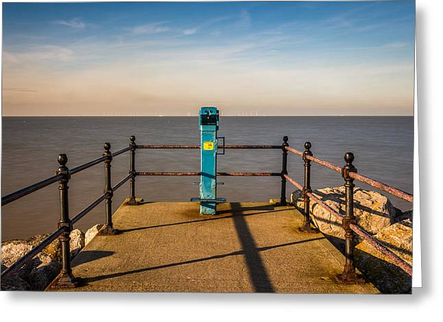 Sea Wall Greeting Cards - Kent Seascape Greeting Card by Ian Hufton