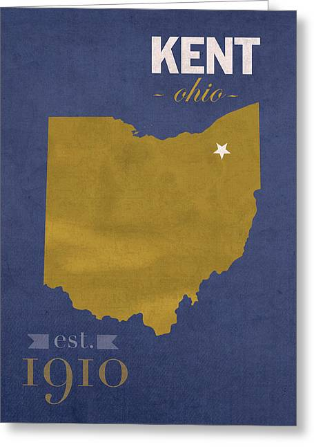 Flash Greeting Cards - Kent State University Golden Flashes Kent Ohio College Town State Map Poster Series No 053 Greeting Card by Design Turnpike