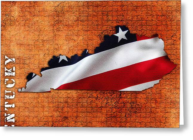 American Flag Art Greeting Cards - Kentucky American Flag State Map Greeting Card by Marvin Blaine