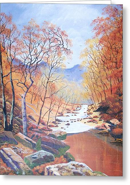 Trees Reflecting In Creek Greeting Cards - Kentucky Autumn Greeting Card by Seth Wade