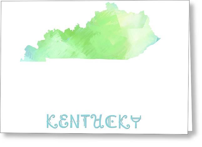 State Phrase Greeting Cards - Kentucky - Bluegrass State - Map - State Phrase - Geology Greeting Card by Andee Design
