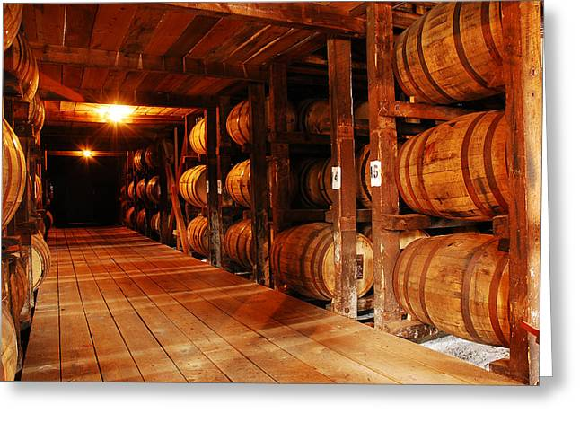 Recently Sold -  - Shed Greeting Cards - Kentucky Bourbon Aging in Barrels Greeting Card by James Kirkikis