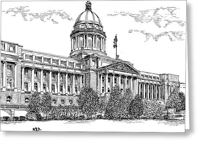 Capitol Drawings Greeting Cards - Kentucky Capitol Greeting Card by Robert A Powell