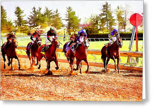 Keeneland Paintings Greeting Cards - Kentucky Derby Greeting Card by Kai Saarto