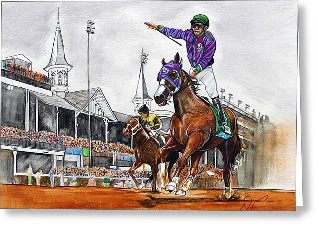 Kentucky Greeting Cards - Kentucky Derby winner California Chrome Greeting Card by Dave Olsen