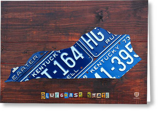 Kentucky License Plate Map The Bluegrass State Greeting Card by Design Turnpike