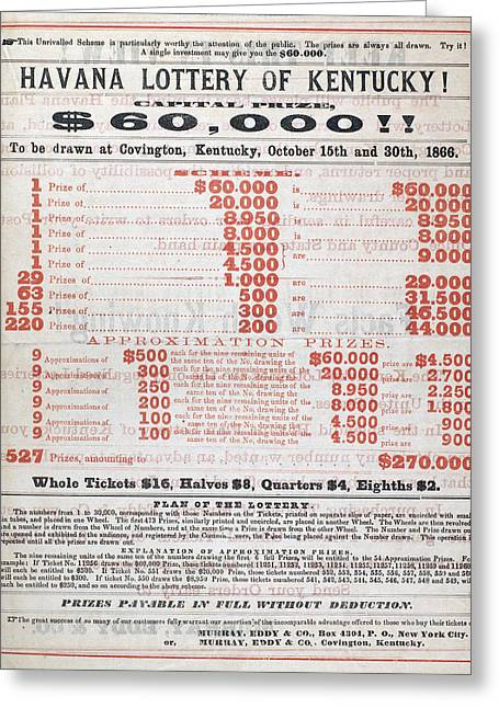 Lottery Greeting Cards - Kentucky Lotteries, 1866 Greeting Card by Granger