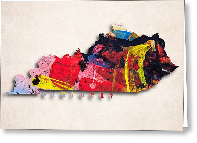 Kentucky Map Art - Painted Map Of Kentucky Greeting Card by World Art Prints And Designs