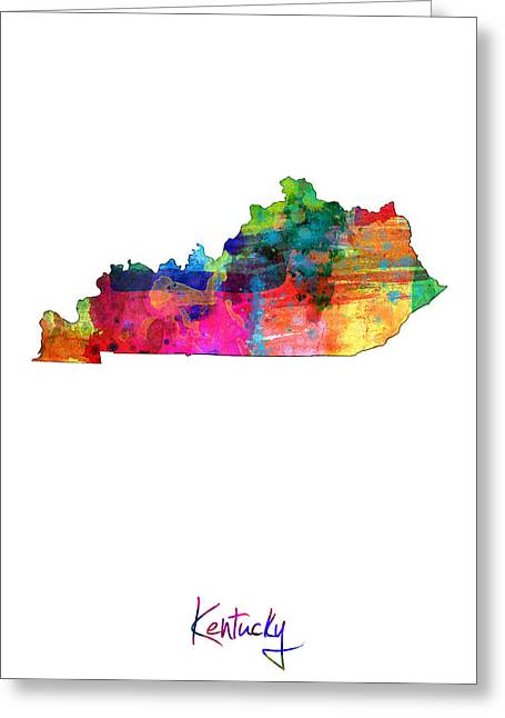 Cartography Digital Art Greeting Cards - Kentucky Map Greeting Card by Michael Tompsett