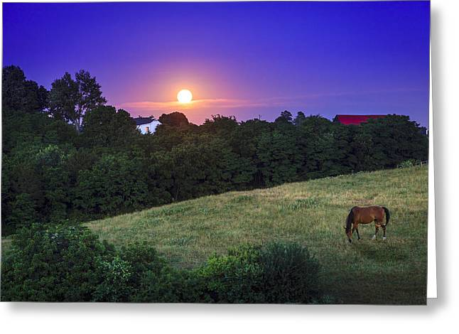 Moonrise Greeting Cards - Kentucky moonrise Greeting Card by Alexey Stiop