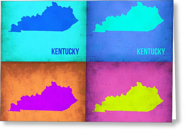 Kentucky Greeting Cards - Kentucky Pop Art Map 1 Greeting Card by Naxart Studio