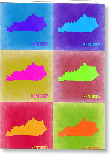 Kentucky Greeting Cards - Kentucky Pop Art Map 2 Greeting Card by Naxart Studio