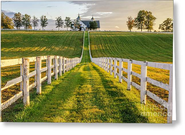 White Pickett Fences Greeting Cards - Kentucky scenery Greeting Card by Anthony Heflin