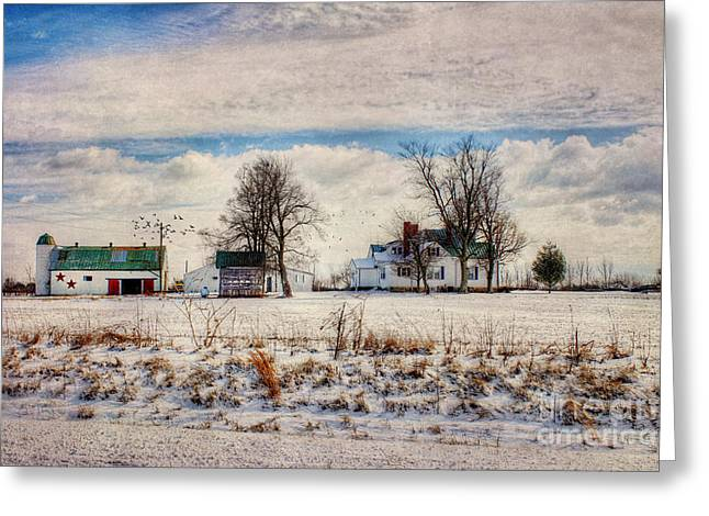 Winter Scenes Rural Scenes Greeting Cards - Kentucky Snow Day Greeting Card by Darren Fisher