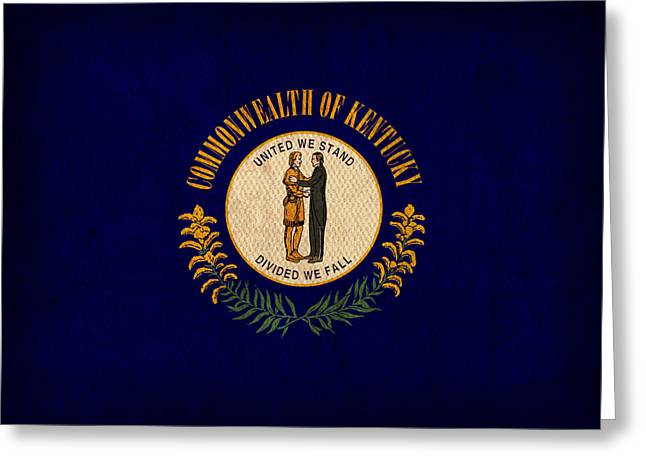Wildcat Greeting Cards - Kentucky State Flag Art on Worn Canvas Greeting Card by Design Turnpike