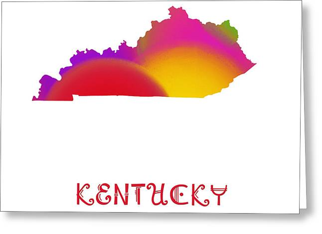 State Phrase Greeting Cards - Kentucky State Map Collection 2 Greeting Card by Andee Design