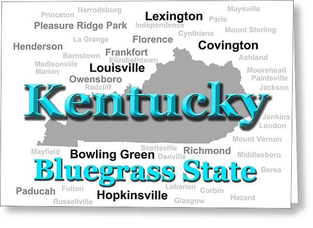Kentucky State Pride Map Silhouette  Greeting Card by Keith Webber Jr