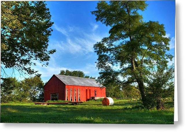 Hay Bales Greeting Cards - Kentucky Tobacco Barn Greeting Card by Tri State Art