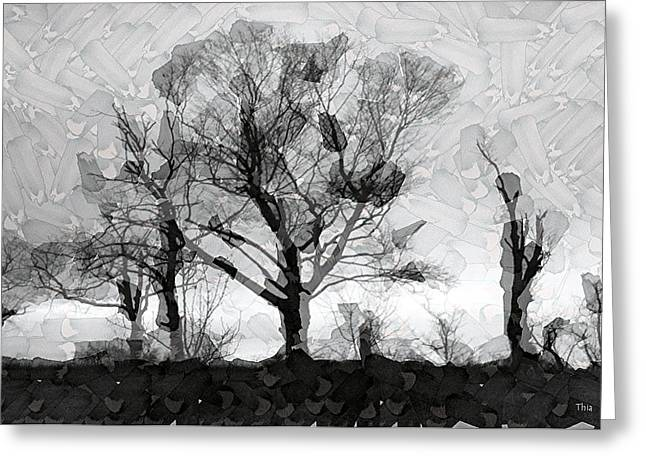 Mosaic Tapestries - Textiles Greeting Cards - Kentucky Trees in Winter Greeting Card by Thia Stover