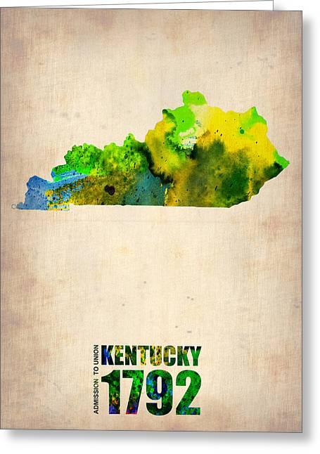 Kentucky Greeting Cards - Kentucky Watercolor Map Greeting Card by Naxart Studio