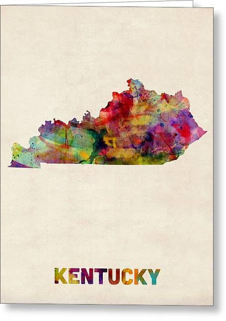 Cartography Digital Greeting Cards - Kentucky Watercolor Map Greeting Card by Michael Tompsett