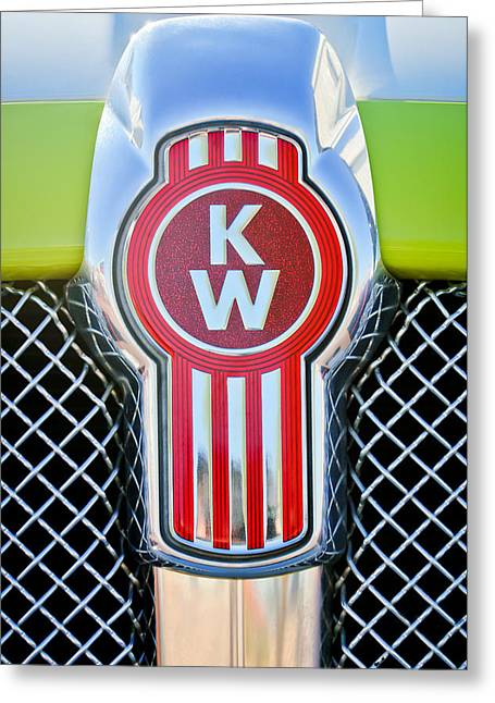 Car Photography Greeting Cards - Kenworth Truck Emblem -1196c Greeting Card by Jill Reger