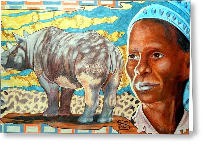 Rhinoceros Mixed Media Greeting Cards - Kenya Dreams Greeting Card by Jamie Jonas