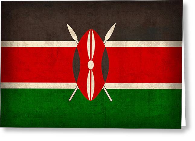 Kenya Greeting Cards - Kenya Flag Vintage Distressed Finish Greeting Card by Design Turnpike