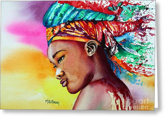 African-american Paintings Greeting Cards - Kenya Greeting Card by Maria Barry