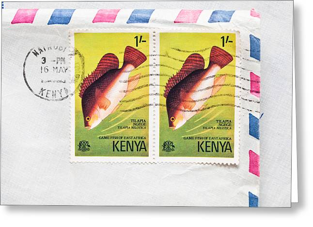 Envelop Greeting Cards - Kenya Stamps Greeting Card by Tom Gowanlock