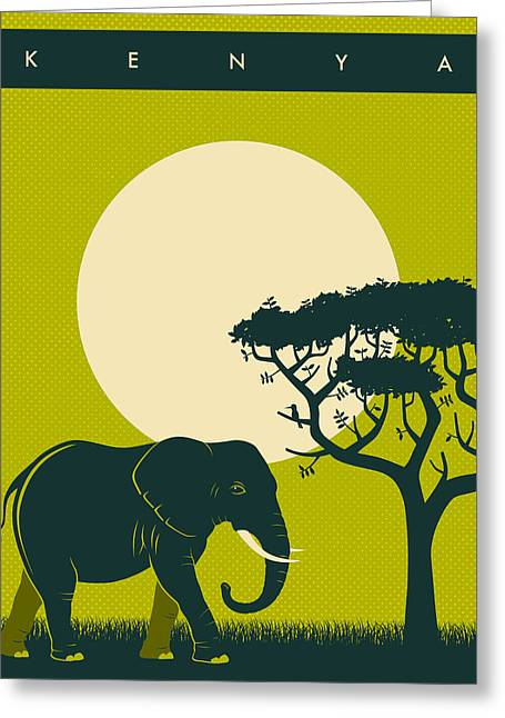 Kenya Greeting Cards - Kenya Travel Poster Greeting Card by Jazzberry Blue