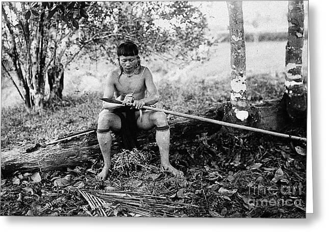 Wood Cutting Tools Greeting Cards - Kenyah Making Blowpipe, Sarawak Greeting Card by Wellcome Images