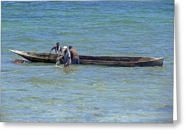 Dug Out Greeting Cards - Kenyan fishermen Greeting Card by Tony Murtagh