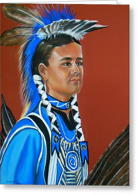 Taos Drawings Greeting Cards - Kenyon Rainer pow wow dancer Greeting Card by George Chacon