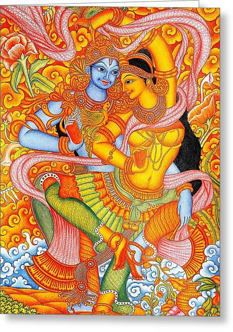 Kerala Murals Greeting Cards - Kerala Fresco Mural Greeting Card by Pg Reproductions