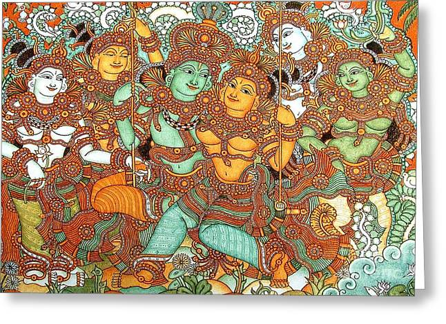 Kerala Murals Greeting Cards - Kerala Mural Painting Greeting Card by Pg Reproductions