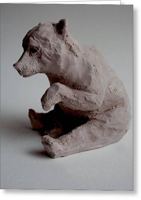 Clay Sculptures Greeting Cards - Kermode bear  Greeting Card by Derrick Higgins