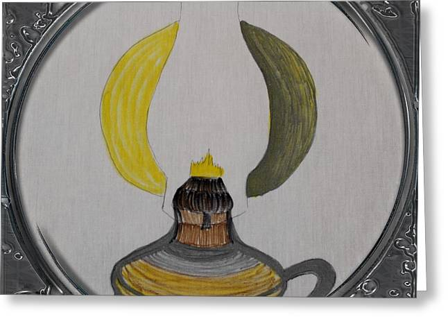 Oil Lamp Drawings Greeting Cards - Kerosene Lamp - Porthole Vignette Greeting Card by Barbara Griffin
