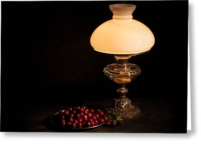 Night Lamp Greeting Cards - Kerosene Lamp Greeting Card by Torbjorn Swenelius