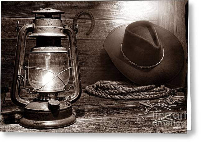 Kerosene Lamp Greeting Cards - Kerosene Lantern Greeting Card by American West Legend By Olivier Le Queinec