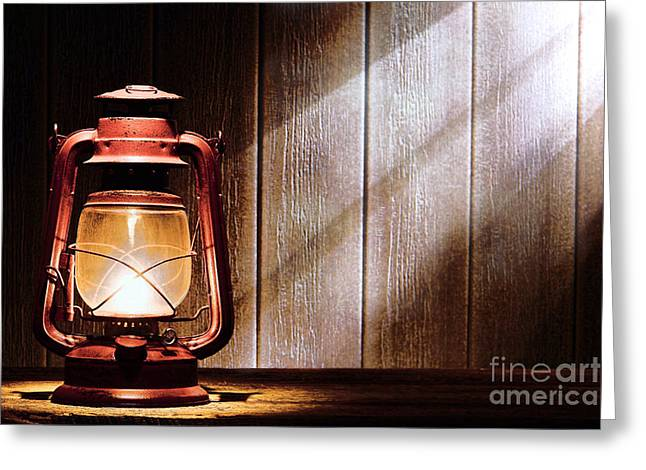 Kerosene Lamp Greeting Cards - Kerosene Lantern Greeting Card by Olivier Le Queinec