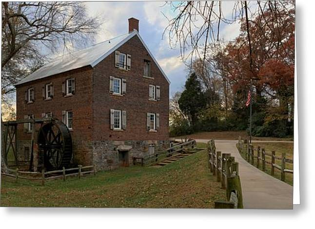 Kerr Greeting Cards - Kerr Grist Mill Fall Panorama Greeting Card by Adam Jewell