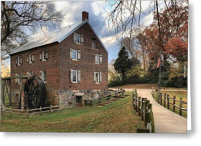 Kerr Greeting Cards - Kerr Grist Mill Panorama Greeting Card by Adam Jewell