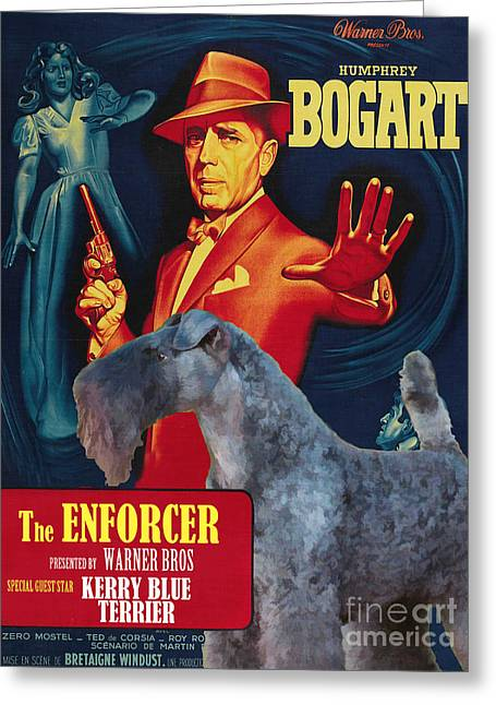Enforcer Greeting Cards - Kerry Blue Terrier Art Canvas Print - The Enforcer Movie Poster Greeting Card by Sandra Sij