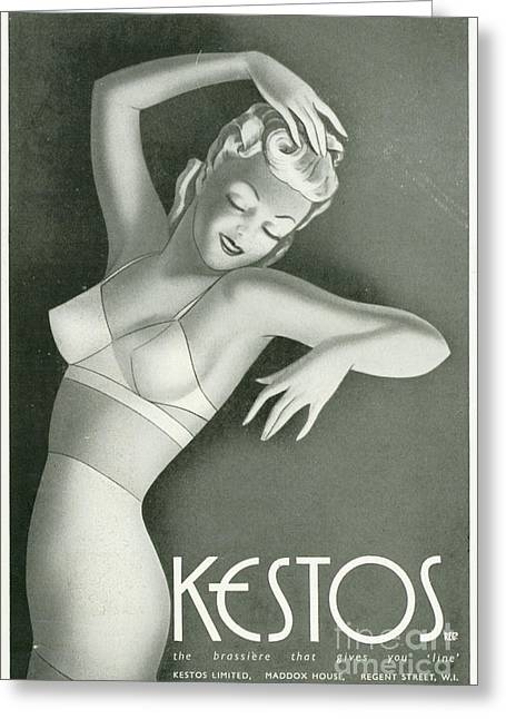 Kestos 1930s Uk Womens Underwear Bras Greeting Card by The Advertising Archives