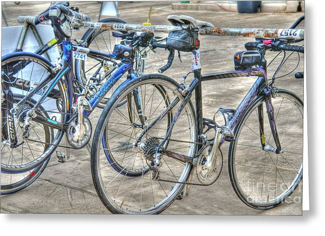 Kestrel and Specialized--Ironman rides Greeting Card by David Bearden