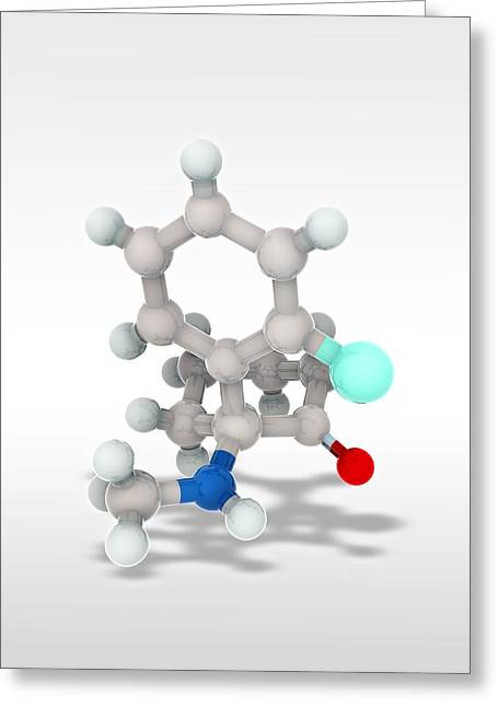 Hallucination Greeting Cards - Ketamine drug, molecular model Greeting Card by Science Photo Library