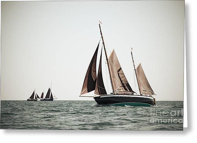 Schooner Greeting Cards - Ketch under sails Greeting Card by Nils Prause